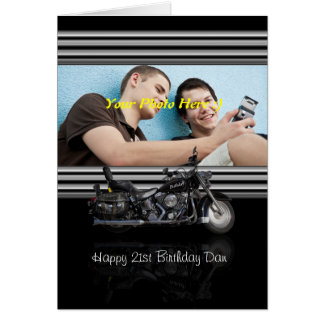 stylish photo greeting card black with motorbike a