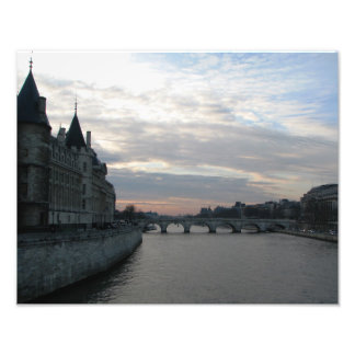 Stylish Photo Print with beautiful sunset in Paris