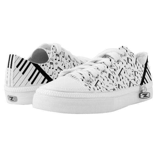Stylish piano keys and music notes designer sneake Low-Top sneakers