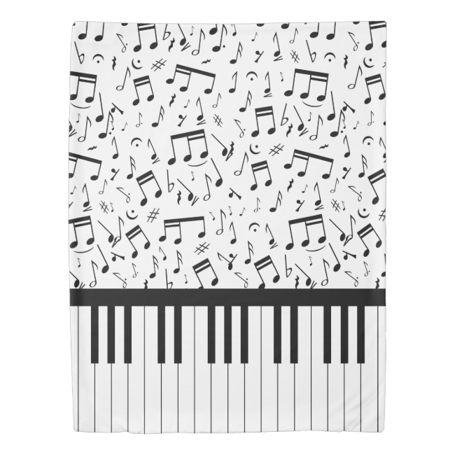 Stylish piano keys and music notes duvet cover