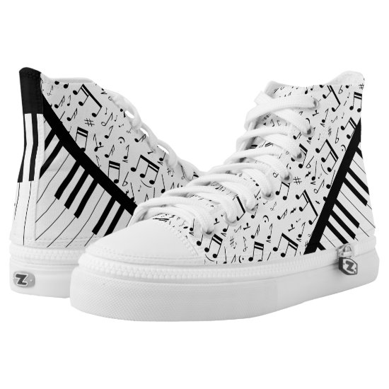 Stylish piano keys and music notes High-Top sneakers