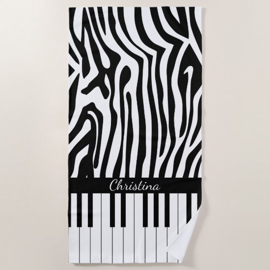 Stylish piano keys and zebra print beach towel