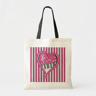 Stylish Piano Music Notes in Pink, Black and White Budget Tote Bag