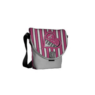 Stylish Piano Music Notes in Pink, Black and White Courier Bag