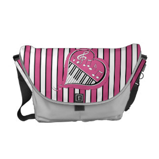 Stylish Piano Music Notes in Pink, Black and White Messenger Bag