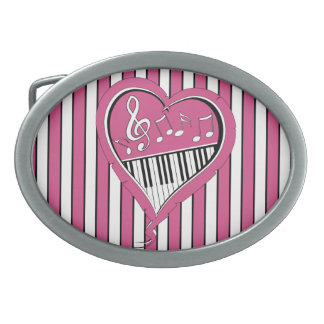 Stylish Piano Music Notes in Pink, Black and White Oval Belt Buckle