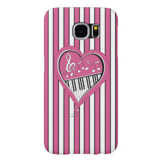 Stylish Piano Music Notes in Pink, Black and White Samsung Galaxy S6 Case