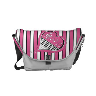 Stylish Piano Music Notes in Pink, Black and White Small Messenger Bag