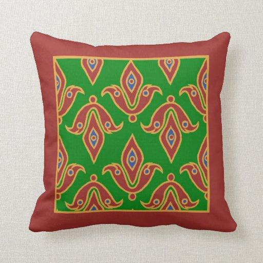 Stylish Pillow, Fleur-de-Lys, Maroon, Green