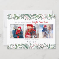 Stylish Pine Vines green trees New Year Holiday Card