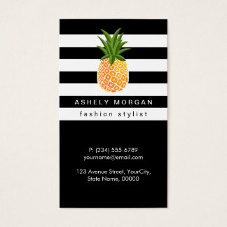 Stylish Pineapple with Black White Stripes Business Card