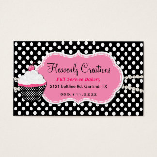 Stylish Pink and Black Bakery Business Card