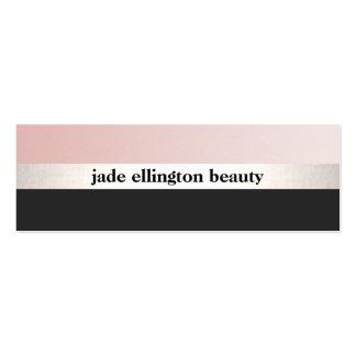 Stylish Pink and Black Silver Stripe Beauty 2 Mini Business Card