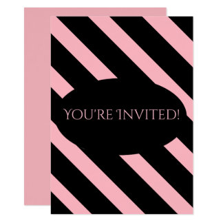 Stylish Pink and Black Wide Stripes Card