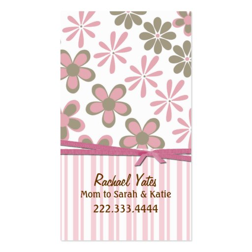 Stylish Pink and Brown Custom Mommy Card