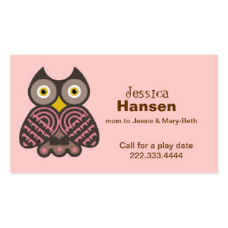 Stylish Pink and Brown Owl Mommy Card Business Cards