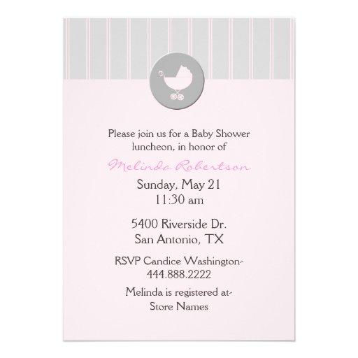 stylish pink and gray baby shower invitation 5 x 7 invitation car