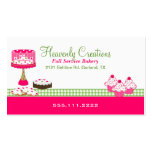 Stylish Pink and Green Bakery Business Card