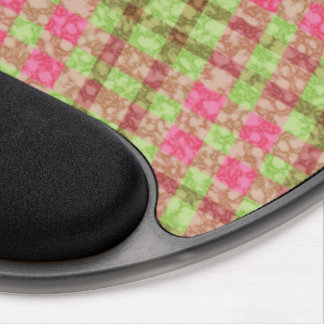 Stylish Pink And Green Checks Pattern Gel Mouse Pad