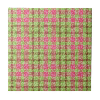 Stylish Pink And Green Checks Pattern Ceramic Tiles