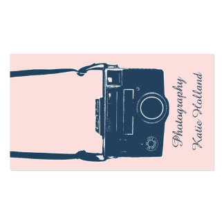 Stylish Pink Antique Film Blue Camera Photography Business Card