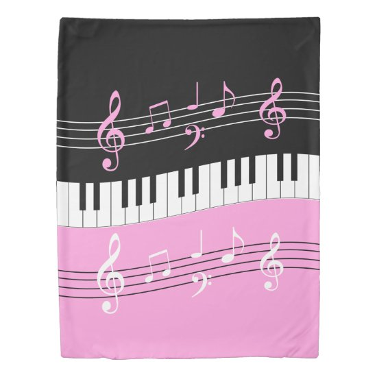 Stylish Pink Black White Piano Keys and Notes Duvet Cover