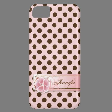 Stylish Pink & Brown Polka Dot iPhone 5 Case