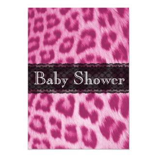 Stylish Pink Cheetah Print Baby Shower Invitation
