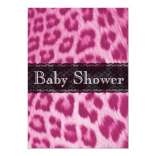 stylish pink cheetah print baby shower invitation zazzle