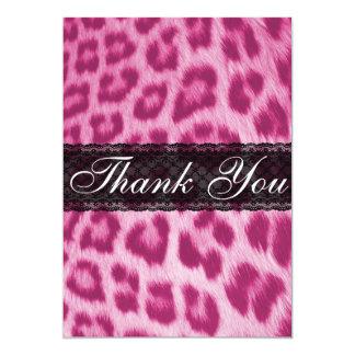 Stylish Pink Cheetah Print Thank You Card / Note Custom Invitations