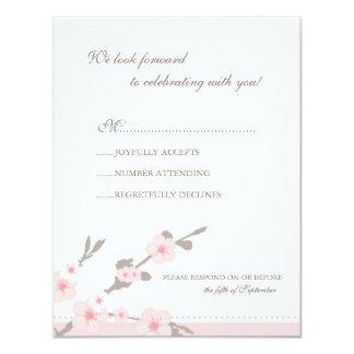 Stylish Pink Cherry Blossoms RSVP Response Card