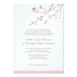 pink cherry blossom wedding invitations & announcements | zazzle, Wedding invitations