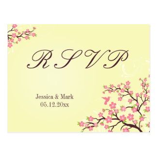 Stylish pink cherry blossoms wedding RSVP postcard
