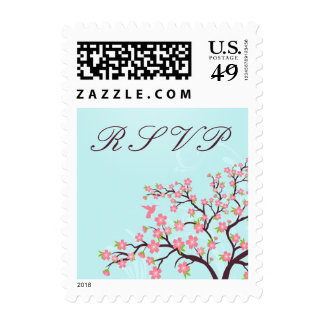 Stylish pink cherry blossoms wedding RSVP stamps