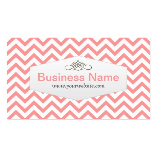 Stylish Pink Chevron Baker Business Card (front side)
