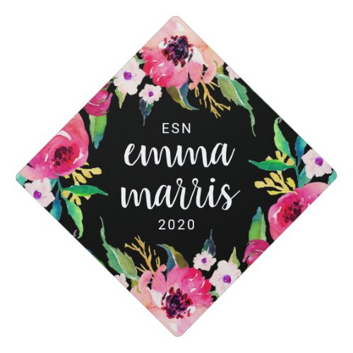 Stylish Pink Floral Custom Name and Class Year Graduation Cap Topper