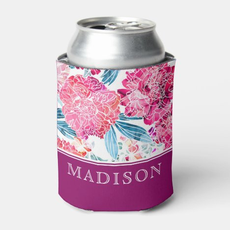 Stylish Pink Floral Pattern Chic Personalized Name Can Cooler