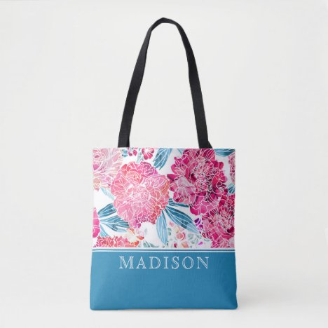 Stylish Pink Floral Pattern Chic Personalized Name Tote Bag