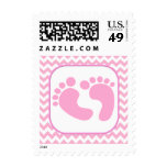 Stylish Pink Foot Prints Baby Shower Stamp at Zazzle