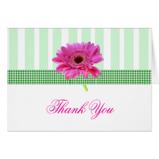 Stylish Pink Gerber Daisy Thank You Card