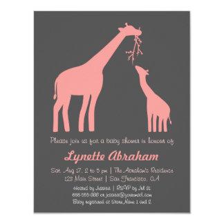 "Stylish Pink Giraffe Baby Shower Invitations 4.25"" X 5.5"" Invitation Card"