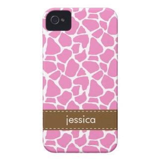 Stylish Pink Giraffe Pattern Case-Mate iPhone 4 Cases