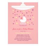 Stylish Pink Girl Baby Shower Modern Invitation Invitation