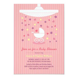 Stylish Pink Girl Baby Shower Modern Invitation
