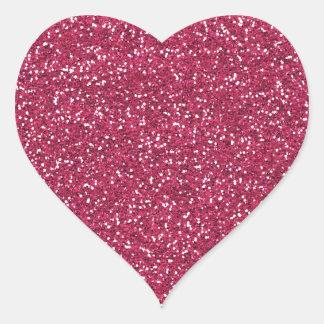Stylish Pink Glitter Heart Sticker