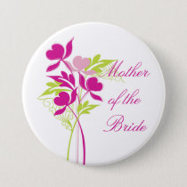 Stylish Pink & Green Bouquet Bridal Party Button