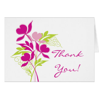 Stylish Pink & Green Bouquet Thank You Note Card