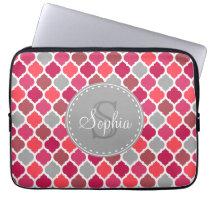 Stylish Pink Grey Moroccan Pattern Monogram Computer Sleeve