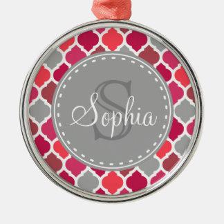 Stylish Pink Grey Moroccan Pattern Monogram Metal Ornament