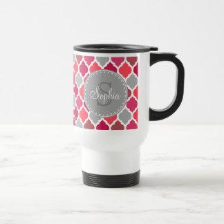 Stylish Pink Grey Moroccan Pattern Monogram 15 Oz Stainless Steel Travel Mug
